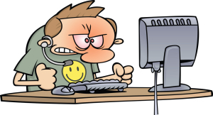 Royalty-Free (RF) Clipart Illustration of an Angry Computer Supp